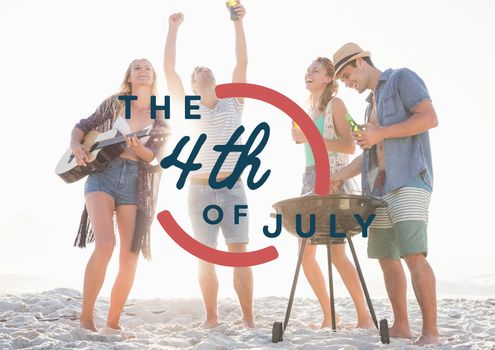 Fourth of July graphic against millennials at beach party