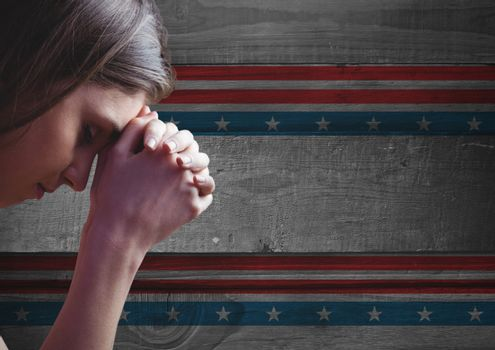 Thinking woman against american flag background