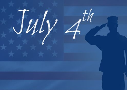 Silhouette of american soldier  against american flag