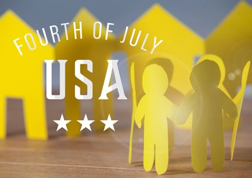 Yellow paper family for the fourth of july