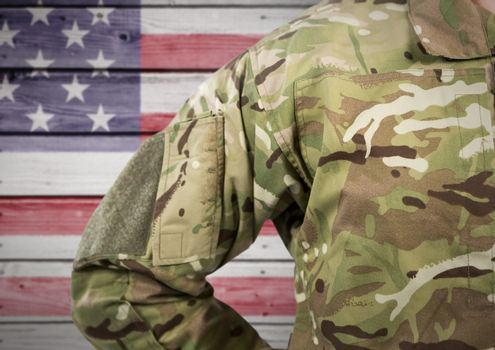 Part of soldier against american flag background