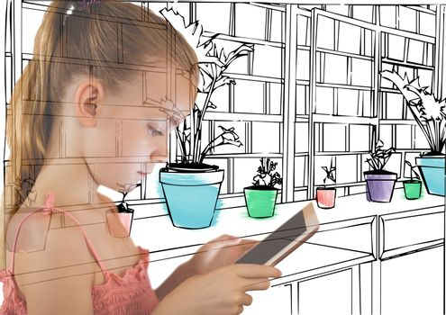 girl with tablet overlap with new office lines  with details in color