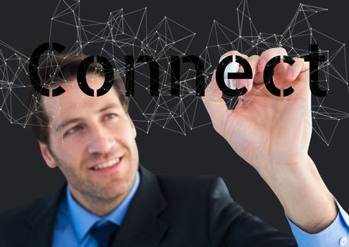 Happy businessman writing connect on the screen. Connect stars around