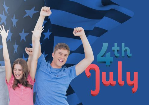 Digital composite of happy couple raising their arms for the 4th of july