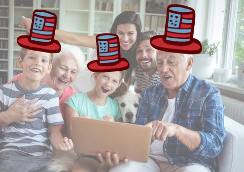 Digital composite of Composite image of a family watching at the digital tablet with 4th of july hats
