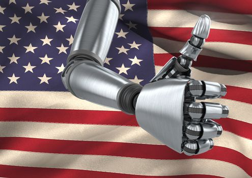 Robot Android hand Thumbs Up American Flag