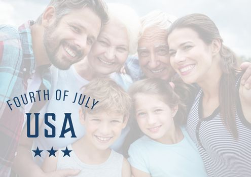 Digital composite of Smiling family for the 4th of july