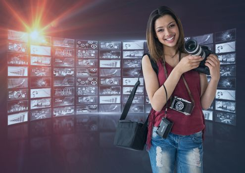 Photographer in front of photo montage frame