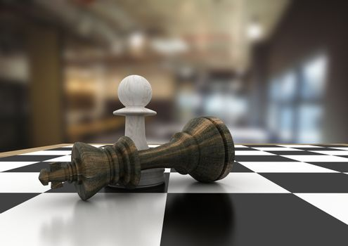 Chess pieces against blurry cafe