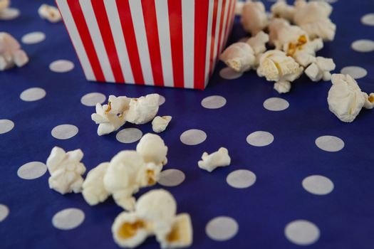 Close-up of popcorn with 4th july theme on cloth