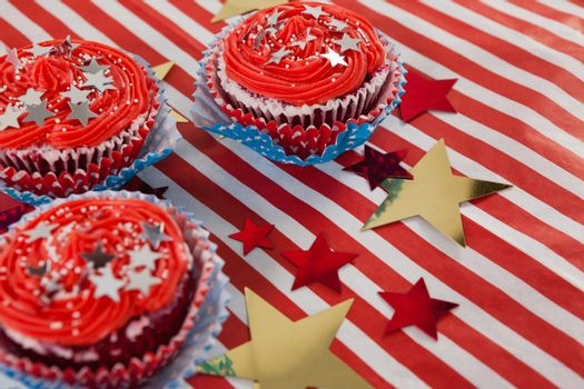 Close-up of decorated cupcakes with 4th july theme