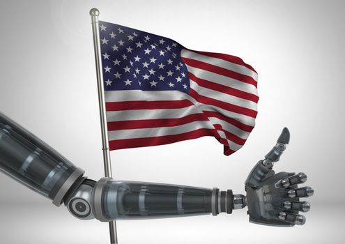 Digital composite of Robot with thumb up  against american flag