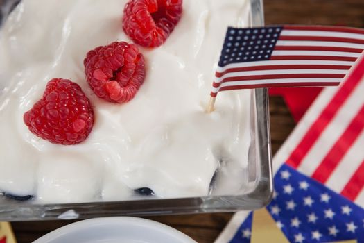Close-up of fruit ice cream with 4th july theme