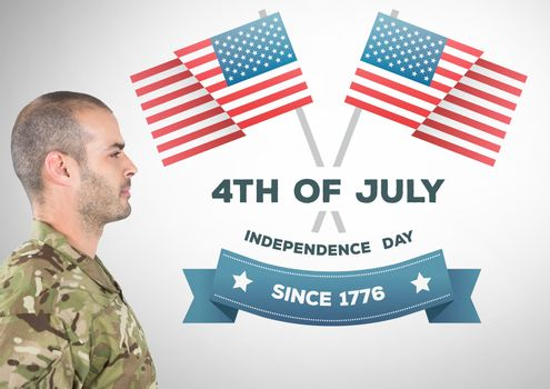 Digital composite of Proud soldier with 4th of July design