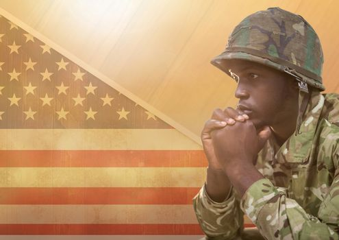 American Soldier thinking  against american flag