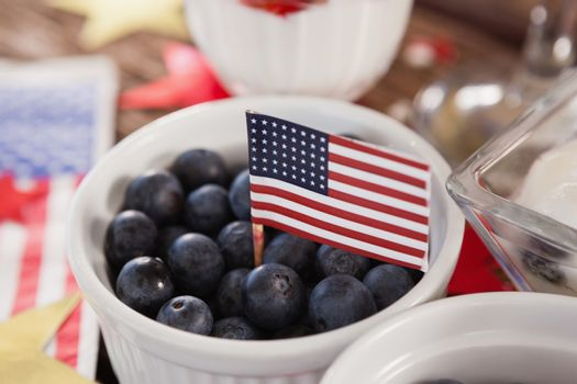 Close-up of blueberry with 4th july theme