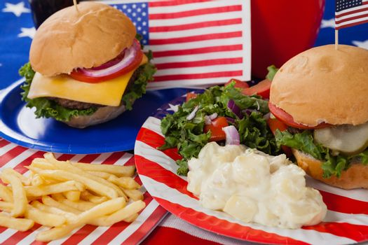 Close-up of snacks decorated with 4th july theme
