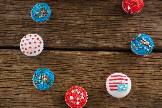 Various patriotic cupcake arranged