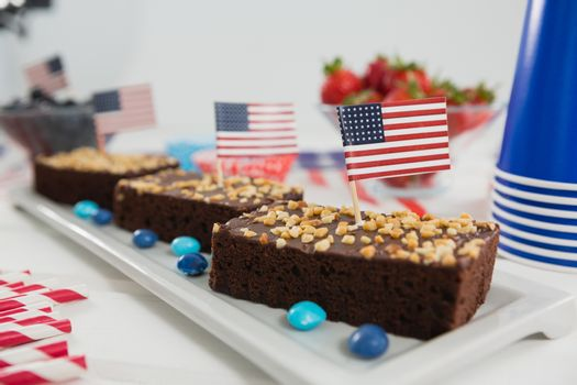 Sweet food decorated with 4th july theme on tray