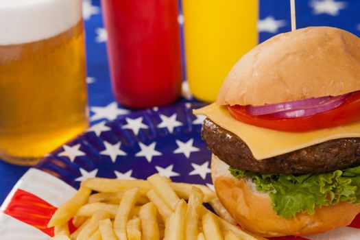 Close-up snacks in plate with 4th july theme