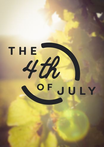 Fourth of July graphic against leaves and flares