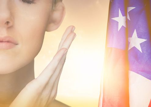 Part of a women with an american flag in background
