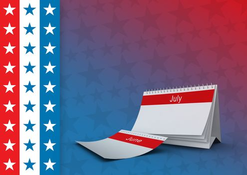 July calendar with american flag in background