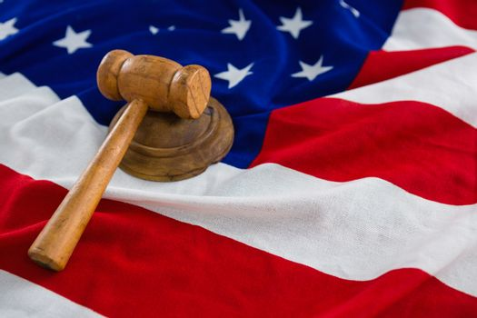 Close-up of gavel on American flag with 4th july theme