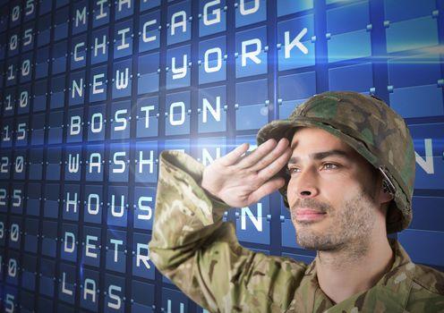 Proud soldier saluting against flights posting