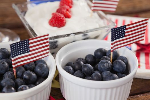 Close-up of blueberries in bowl with 4th july theme