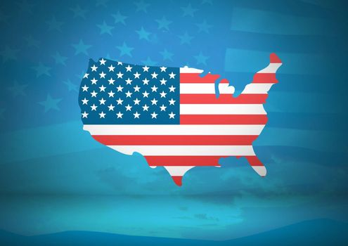 Digital composite of USA map covered by american flag