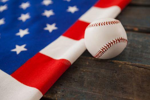 Baseball on an American flag