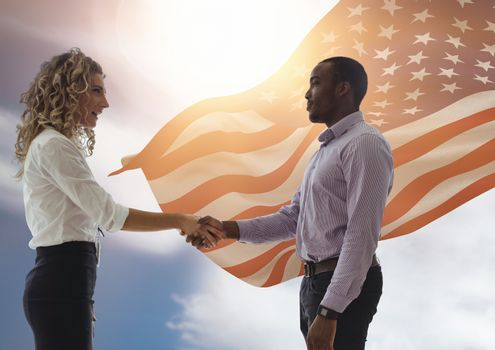 Handshake for independence day