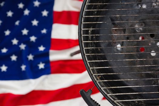 Barbeque against American flag