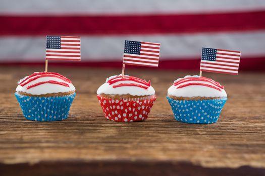 Patriotic cupcake with American flag