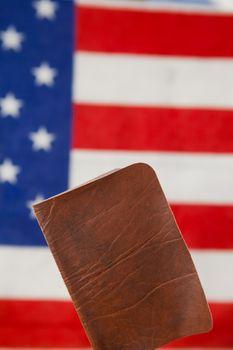 Passport against American flag background
