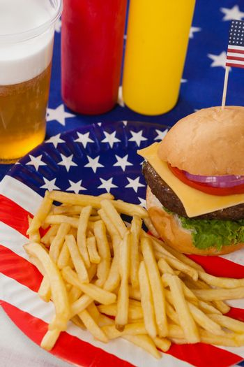 Snacks and drink  decorated with 4th july theme on table