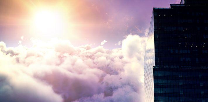 Composite image of tranquil scene of bright sun over cloudscape