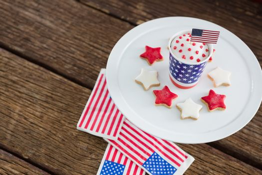 Patriotic coffee with American flag