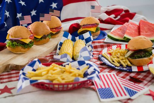 Breakfast and American flag on tablecloth with 4th july theme