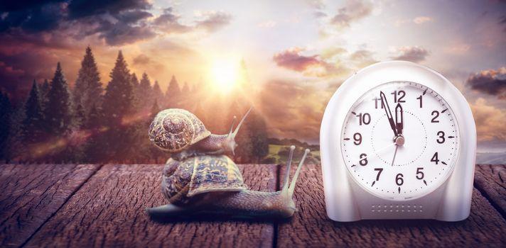 Composite image of clock hour