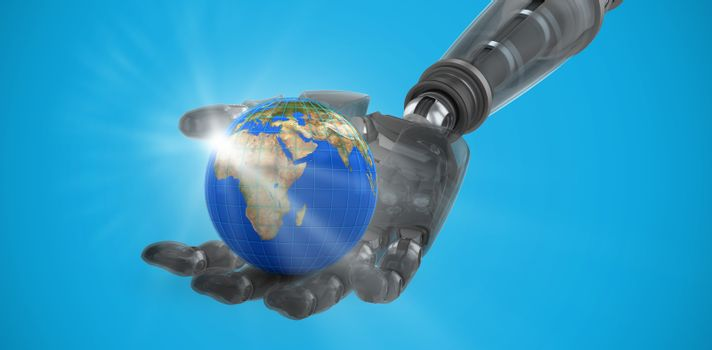 Composite image of cyborg hand against white screen