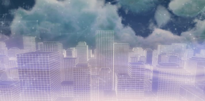 Composite image of digitally generated image of cityscape