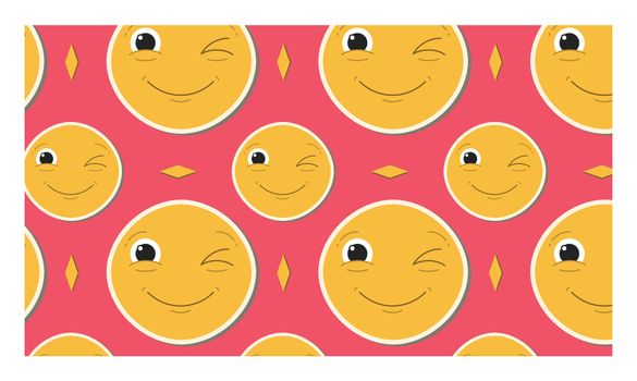 Vector image of winking and smiling emoticon