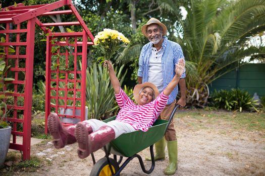 Man carrying woman in wheelbarrow