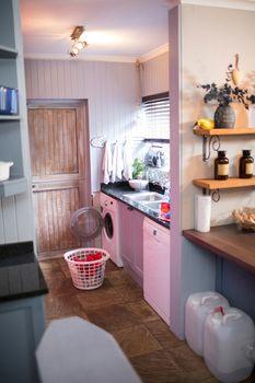 Laundry in basket by sink