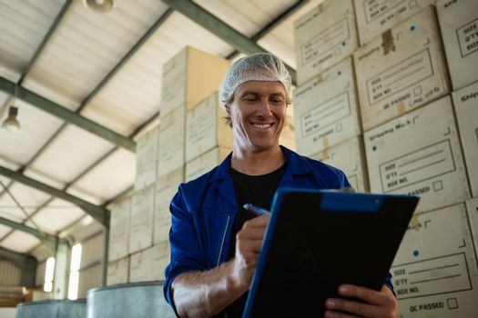 Worker maintaining record on clipboard