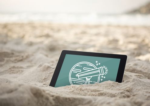Digital composite of Tablet with travel icon on the screen