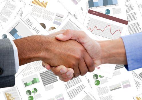 Handshake against document backdrop