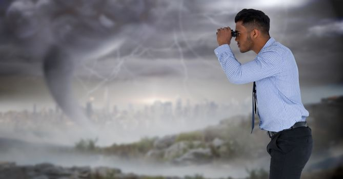 businessman in stormy cityscape